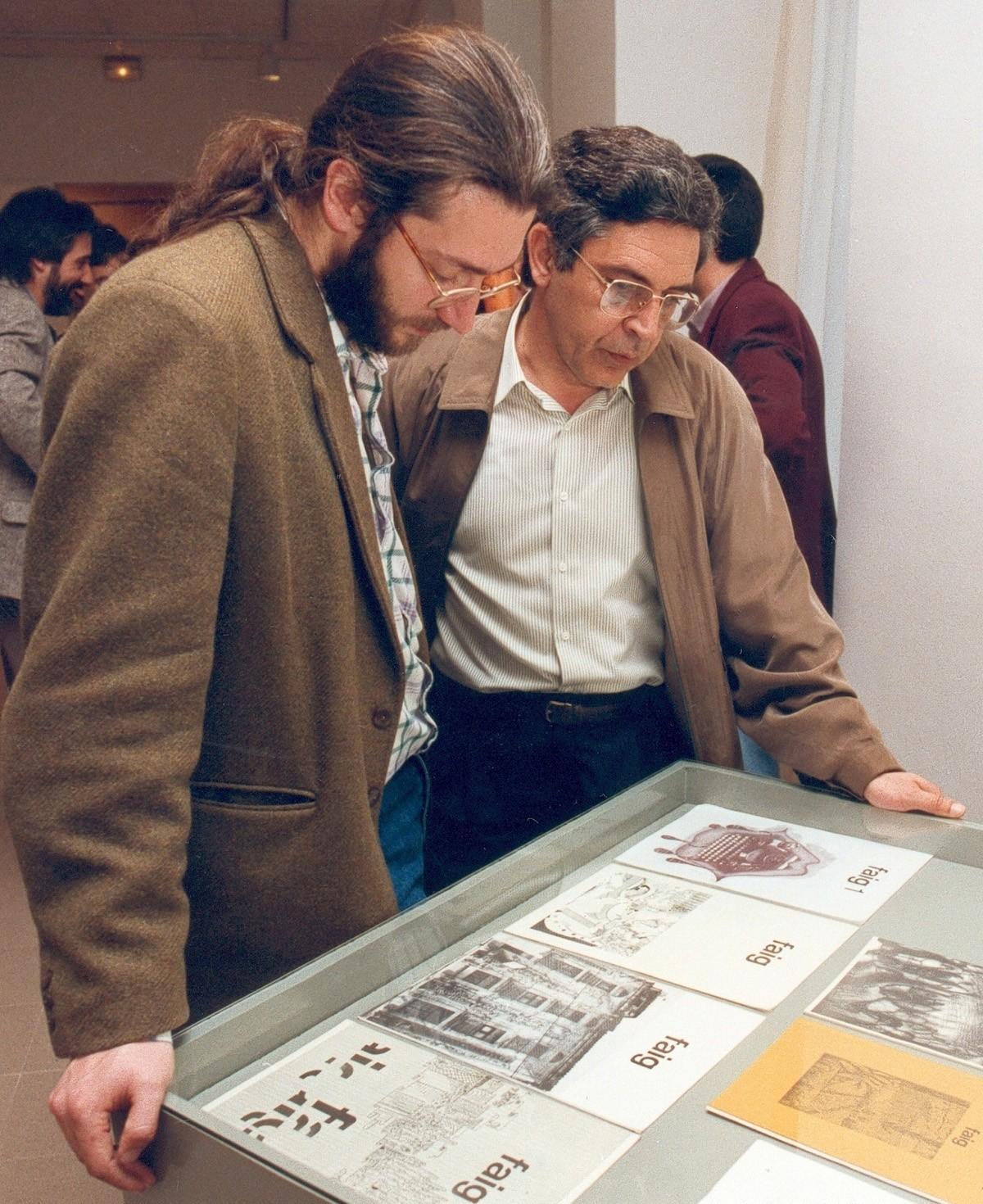 Lluís Calderer i Joaquim Noguero a l'exposició de \'Faig Arts\'.